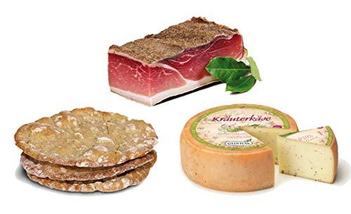Set Specialità Sudtirolo / Alto Adige: Speck, Formaggio alle Erbe e pane alla segale Schüttelbrot....