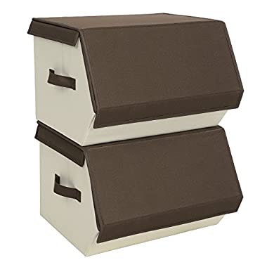 SONGMICS Storage Bins with Lids and handles, Stackable Magnetic Oxfrod Storage organizers for Clothes Documents and Kids toys, Set of 2, Brown URLB02K