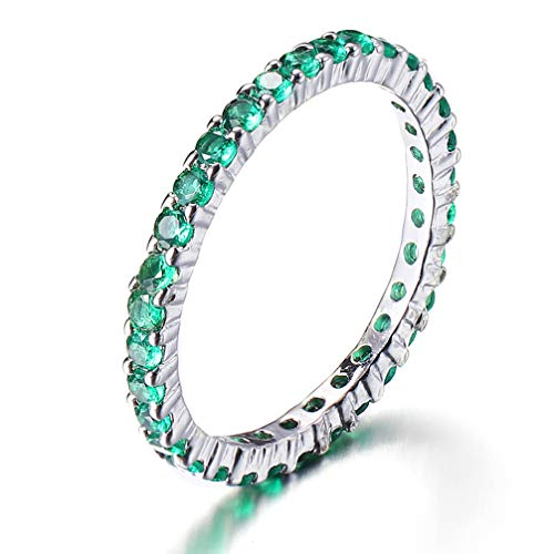Eternity Ring for Women 2mm Crystal Aquamarine Ruby Cubic Zirconia Stackable Wedding Engagement Ring Size 7 8 (Green, 7)