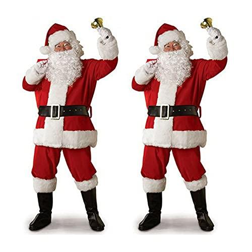 Navidad Santa Claus Costume Cosplay Santa Claus Disfraz Disfraz Fancy Vestido Navidad Hombres de Navidad 5 Piezas/Juego de Trajes de Adultos for lotes (tamaño : 3XL)