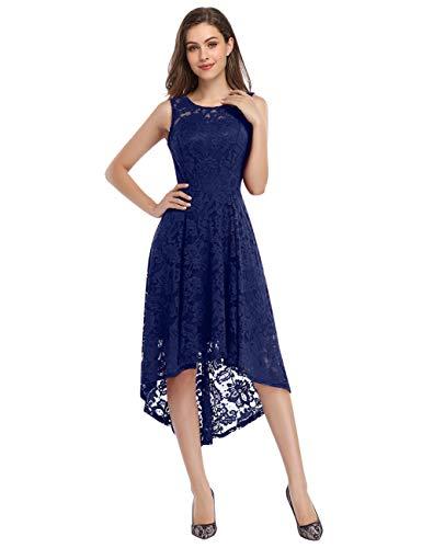 KOJOOIN Damen Abendkleider Cocktailkleid Brautjungfernkleider für Hochzeit Unregelmässiges Kurzespitzenkleid Ärmellos Navyblau Dunkelblau/34-36,S