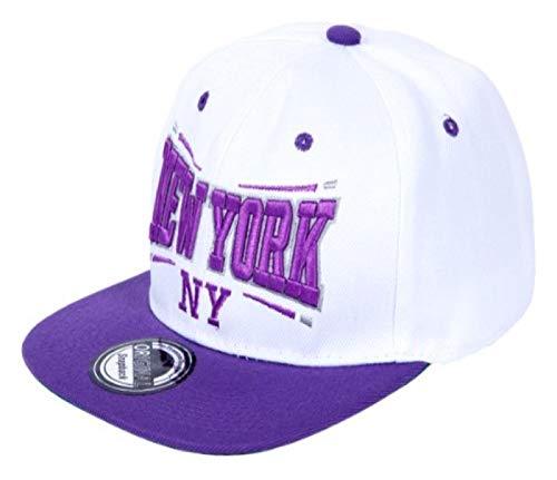 Snapback Basecap Starter Hat Hip Hop Cap Schirmmütze Baseballcap Baseball Mütze Kappe, Farbe wählen:Cap-48 NY weiß lila