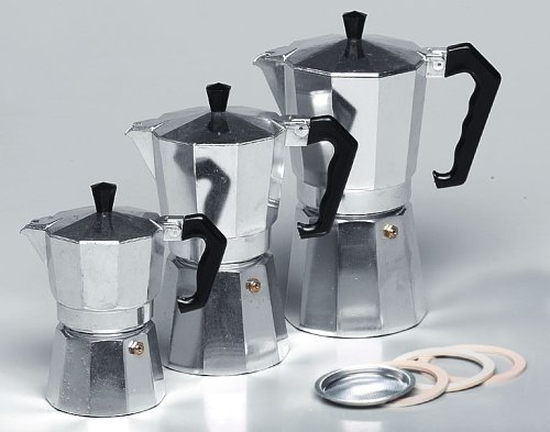 Krüger 486778 Alu-Espressokocher 3 Tassen, Aluminium, Silber, 30 cm, 3-Einheiten