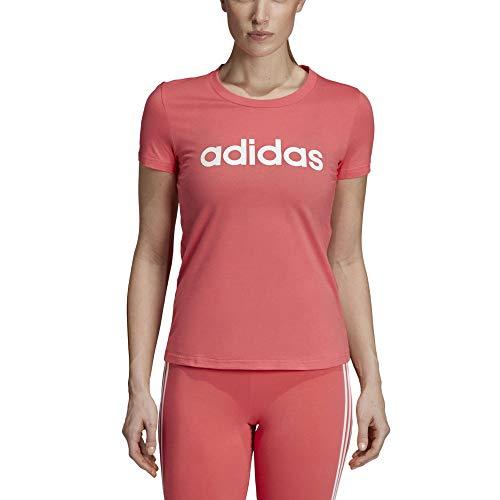 adidas Essentials Linear Slim Tee, Maglietta Donna, Prism Pink, M 44-46