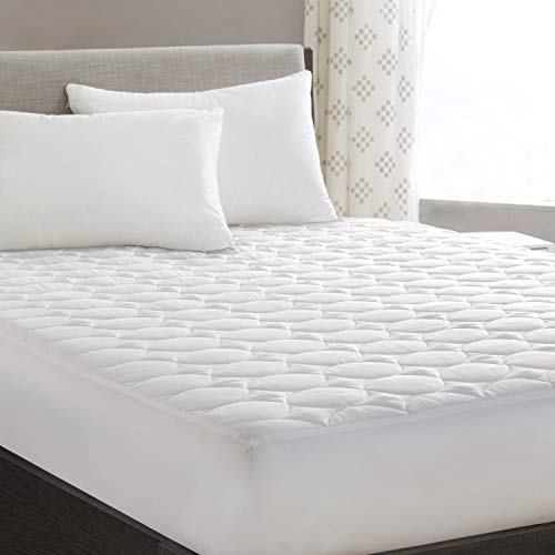 """Queen Mattress Pad Cover Quilted Fitted with Stretches to 18"""" Deep Pocket White cooling Hypoallergenic Mattress Topper Protector (60""""x80"""")"""
