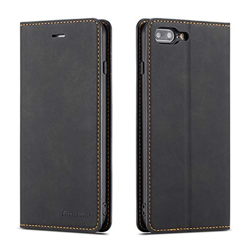 QLTYPRI iPhone 7 Plus 8 Plus Case, Premium PU Leather Cover TPU Bumper with Card Holder Kickstand Hidden Magnetic Adsorption Shockproof Flip Wallet Case for iPhone 7 Plus 8 Plus - Black