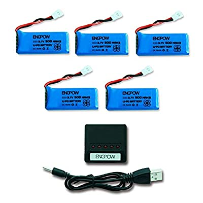 ENGPOW Drone Battery 3.7v 500mah Lipo Battery Compatible with SNAPTAIN S5C Wifi FPV Drone LBLA FPV Drone DROCON X708 Potensic u42wh UDI U816A Syma X11 X 11c Hami Foldable mini drone