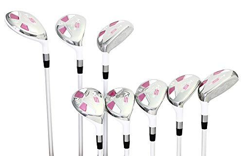 Majek White Pearl Ladies Golf Hybrids Irons Set New Womens Best All True Hybrid Ultra Light Weight Forgiving Woman Complete Package Includes 4 5 6 7 8 9 PW SW All Lady Flex Utility Clubs