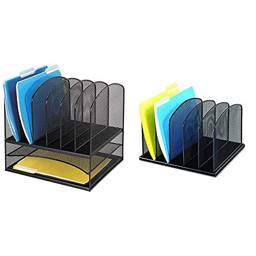 Safco Products Onyx Mesh 2 Tray/6 Sorter Desktop Organizer 3255BL & Onyx Mesh 5 Sort Vertical Desktop Organizer 3256BL, Black Powder Coat Finish, Durable Steel Mesh Construction