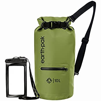 Earth Pak- Waterproof Dry Bag with Front Zippered Pocket Keeps Gear Dry for Kayaking Beach Rafting Boating Hiking Camping and Fishing with Waterproof Phone Case