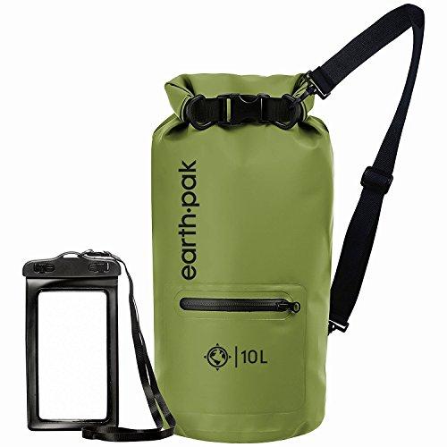Earth Pak Torrent Serie Dry Bag wassersdichte Tasche mit verstellbarem Schultergurt und wasserfester Handyhülle Ideal beim Kajak Fahren Angeln Rafting Grün 20L