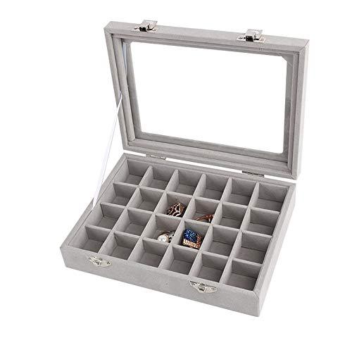 Recet Joyero con 24 compartimentos, doble cierre de plata, para joyas