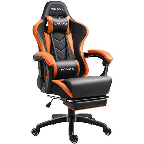 Dowinx Gaming Stuhl Ergonomischer Büro Lehnstuhl für PC mit Massage Lordosenstütze, Racing Stil Sessel PU-Leder-E-Sport-Gamer Stühle mit Ausziehbarem Fußraste (schwarz&orange)
