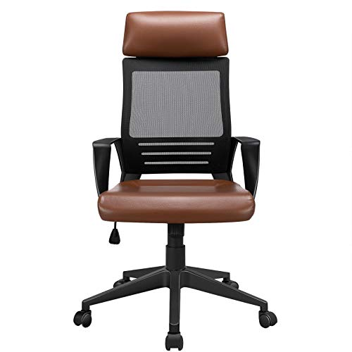 YAHEETECH Ergonomic Mesh Office Chair with Leather Seat, High Back Task Chair with Headrest, Rolling Caster for Meeting Room, Home Brown