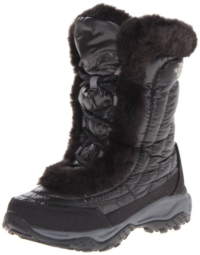 The North Face Nuptse Fur II Winter Boot (Little Kid/Big Kid),Shiny Black/Black,12 M US Little Kid