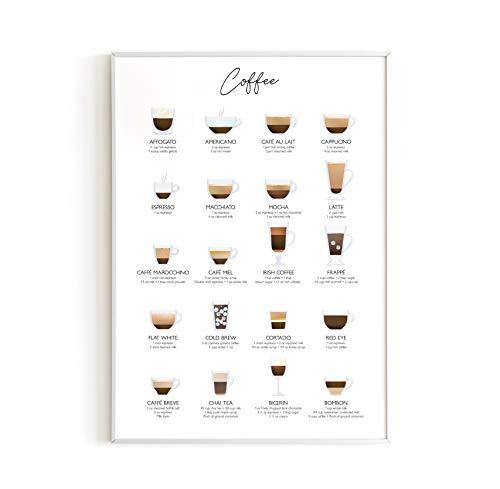Haus and Hues - Impresión de café y decoración de cafetería, decoración de bar de café, pósteres universitarios, carteles y decoración de pared para niñas, cocina y departamento, sin marco, 30,5 x 40,6 cm (café)