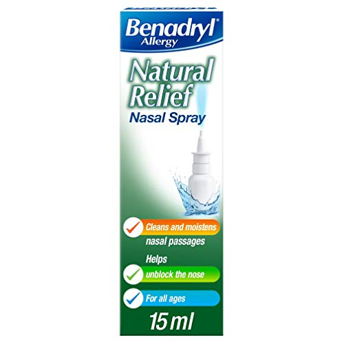 Benadryl Allergy Natural Relief Nasal Spray, Preservative Free Suitable from Birth, 15 ml