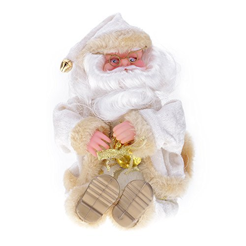 Arpoador 27cm Ornaments Decor Sitting Santa Claus Mustache Hat Doll Toy Christmas Gift Great Decoration For Home Office White