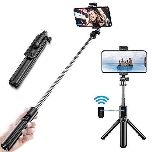 sinzau Bluetooth Selfie Stick, mit Fernbedienung und Ausziehbarem Stativ, 360° Drehung, Schwarz