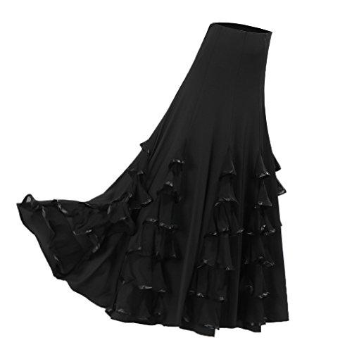 Sharplace Große Schaukel Damen Maxirock Tanzrock Tanzkleider Ballsaal Tanzen Lange Rock Flamenco Kleid Boho Hippie Walzer Tango Latein Kostüm - Stil 1 Schwarz, wie beschrieben