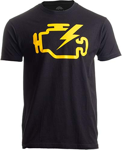 Check Engine Light   Funny Mechanic Macanic Machanic Car Clothing Men T-Shirt-(Adult,L) Black