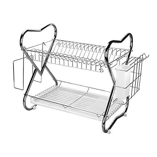 Dish Drying Rack Rust-Proof Dish Drainer, 2 Tier Large Dish Rack with Drain Board Chrome Coating Kitchen Organizer Storage