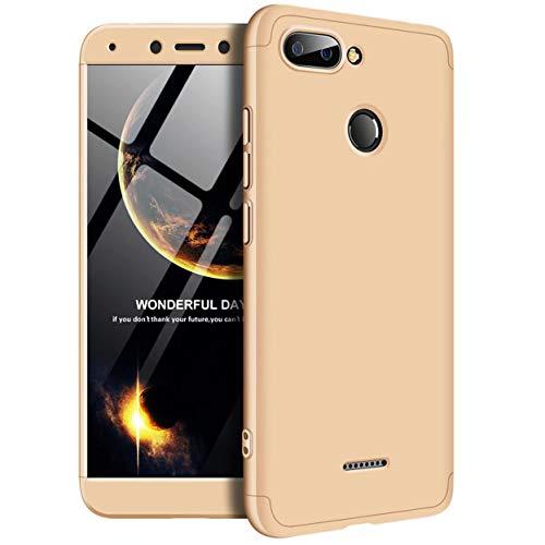 Funda Xiaomi Redmi 6 Caja Caso Laixin 3 in 1 Carcasa Todo Incluido Ultra Delgado Anti-Scratch Protectora de teléfono Case Cover para Xiaomi Redmi 6 (Oro)
