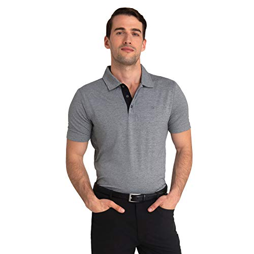 Calvin Klein Herren Newport Polo | Dry Fit with UPF 30+ Sun Protection Golf-T-Shirt, Silber, Klein