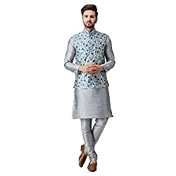 Sojanya (Since 1958), Mens Silk Blue Kurta Pyjama & Printed Nehru Jacket set