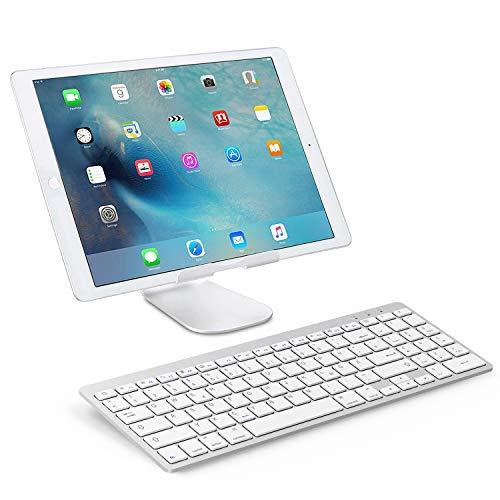 OMOTON deutsche Bluetooth Tastatur für iPad 10.2 2019,iPad Pro 11,iPad 2018/2017,iPad 5/4/3/2,iPad Air 3/2/1,iPad Pro 10.5,iPad Pro 12.9, IPad Mini 5/4/3,QWERTZ Layout mit Nummernblock,Silver