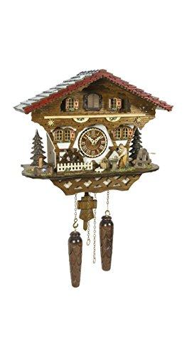 Trenkle Reloj cucú de Cuarzo Casa de la Selva Negra con Herrero y Rueda de Molino Que se Mueve, con música TU 4221 QM HZZG