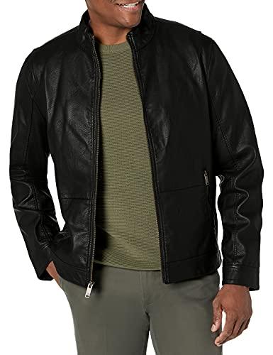 Dockers Men's The Dylan Faux Leather Racer Jacket, black, Medium