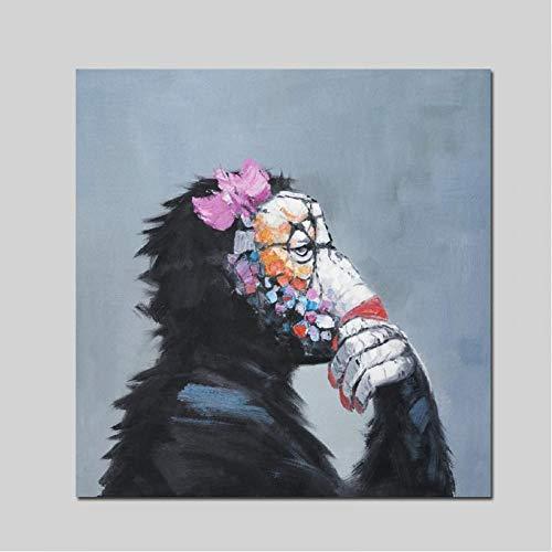 TBWPTS Canvas Schilderij Print moderne abstracte denken aap met hoofdtelefoon Cartoon Canvas schilderij dieren grappige Wall Art Home Decor woonkamer