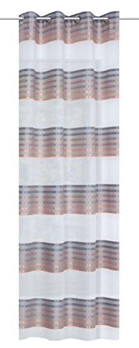 Home Fashion Ösenschal Glanzpunkt Querstreifen, Polyester, Kupfer, 225 x 140 cm
