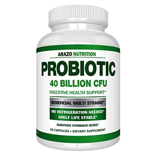 Probiotic 40 Billion CFU - Shelf Stable with Prebiotics and Acidophilus - Stable Potency Until Expiration – Time Delay Release Probiotics – Arazo Nutrition