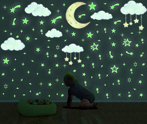 171 Sterne Wandtattoo für Kinderzimmer,Leuchtende star Aufkleber,Wolke Sterne Fluoreszierend Wandaufkleber,Leuchtsticker Wand für Mädchen Jungen Schlafzimmer Babyzimmer Decke Home Dekorative Aufkleber