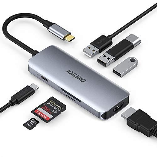 CHOETECH Hub USB C,7 En 1 USB Tipo C a HDMI HUB con PD 100W, HDMI 4K,USB 3.0, SD/TF Lector Tarjeta para MacBook Pro/Air 2018-2020, iPadPro 2020/2018,MacBook,SamsungS20/S10E/S9,Huawei P40Pro/P30/Mate20