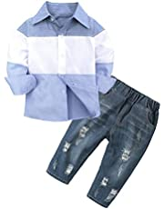 Fossen 1-6 años Niño Bebé Camiseta a Rayas Tops de Manga Larga + Vaqueros