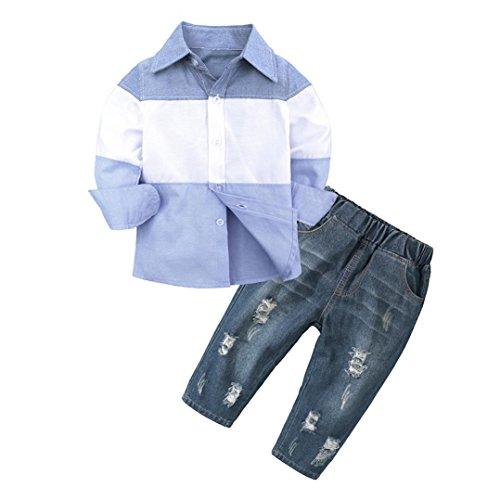 Fossen 1-6 años Niño Bebé Camiseta a Rayas Tops de Manga Larga + Vaqueros (3 años, Azul)