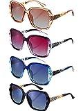 4 pares de gafas de sol de gran tamaño para mujer, polarizadas cuadradas, montura brillante, gafas de sol