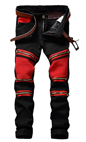 Men's Black Zipper Ripped Straight Slim Moto Biker Jeans, Black&red, 33