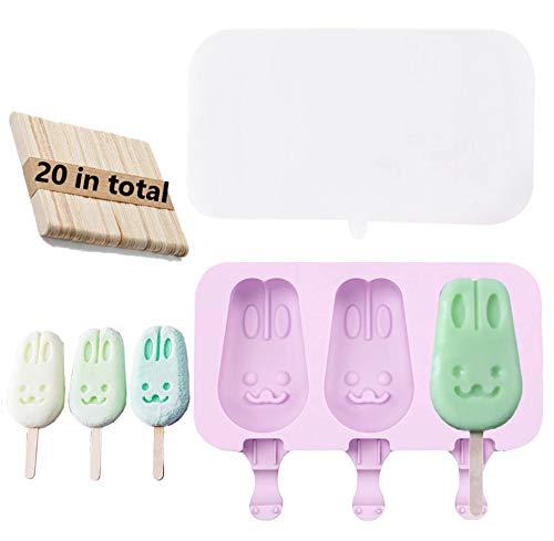 kaishuai-Moldes helados-Forma de Conejo,Buenos moldes de silicona hecho,perfecto para helados cremosos,Paletas de frutas Buenos.Moldes para Pasteles/20PcsPalitos de Madera