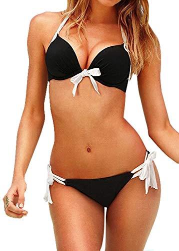 Bikinis para Mujer calzedonia Verano Estampados y de Colores (Lazo Blanco y Negro)