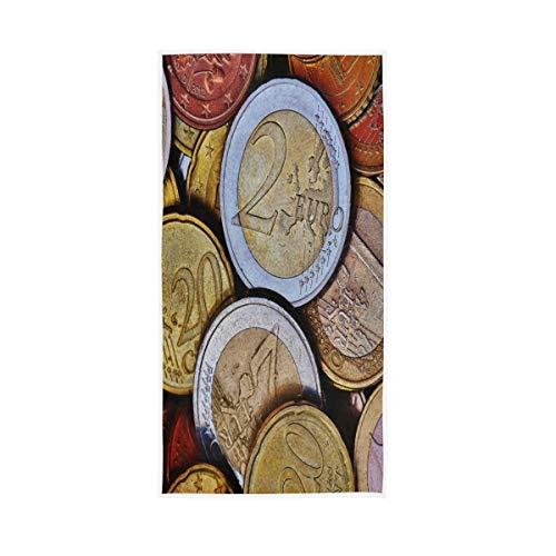 TropicalLife XIXIKO - Toalla de mano retro con moneda Euro para baño, hotel, gimnasio, spa, 30 x 15 pulgadas