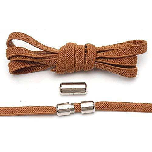 WEDSA 12 Colores elásticos sin Cordones Cordones de Zapatos semicírculo Cordones de Zapatos para niños y Adultos Zapatillas de Deporte Cordón de Zapato Lazy Metal Lock Laces SHOS-Australia, marrón