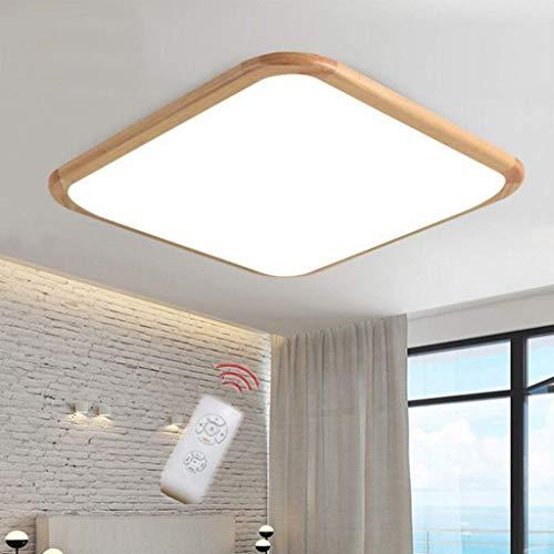 LED 18 W plafondlamp, vierkant massief hout moderne eenvoud afstandsbediening traploos dimmen Super licht, voor woonkamer keuken balkon hal badkamer garage kantoor plafond lamp houten