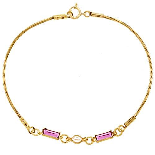 Córdoba Jewels | Pulsera en Goldfilled 14/20 con diseño Rectangle Rosa Zirconium