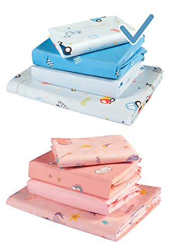 GOYSILA Next to Me Baby Crib Sheets 4 Pieces 100% Cotton Oeko-Tex Certified Hypoallergenic Breathable.Compatible Nexttome Cosleeping Cot Chicco Next2Me Babylo Cozee Kinderkraft Lullago Mattress 50x83