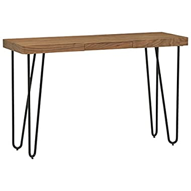 Rivet Hairpin Wood and Metal Tall 29.5  Console Table, Walnut and Black