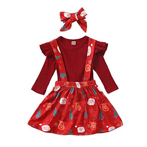 Carolilly Baby Mädchen Christmas Weihnachten Langarm Stoffdruck Pullover mit Rentier + Kurzer Rock Kleid mit Hosenträger Süß Weich Modisch (Rot 2, 6-12 Monate)